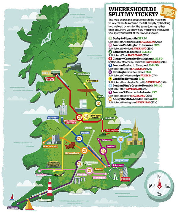 inlinemarker map of train routes in the uk
