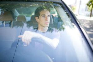 Man driving his car