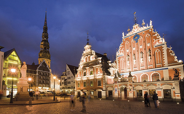 The House of Blackheads in the old town of Riga, Latvia, which adopts the Euro today and is the 2014 European Capital of Culture.