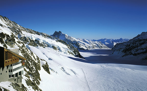 The view across Aletsch Glacier from Jungfraujoch, Switzerland.