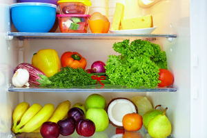 Fridge filled with food