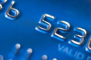 close-up of blue debit card