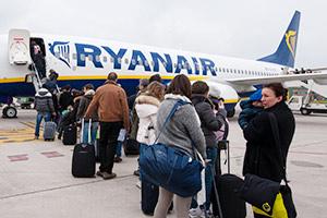 Boarding a Ryanair aeroplane