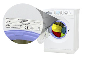 Haier washing machine with model number highlighted