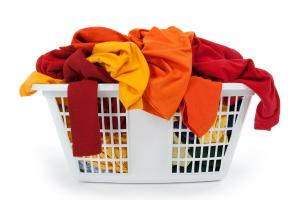An overflowing washing basket