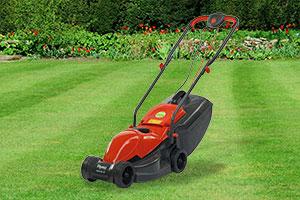 Flymo Venturer 32 on a garden lawn