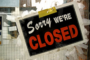 Closed sign on door