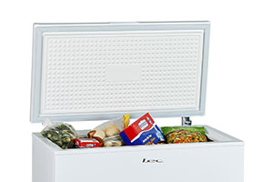 Chest freezer with frozen food