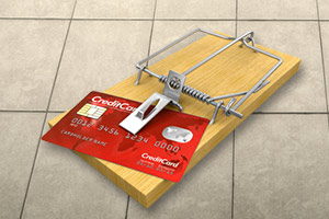 Credit card on a mousetrap