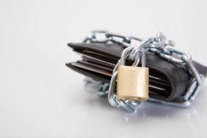 Wallet chained and padlocked