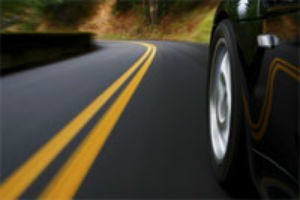 car wheel on road