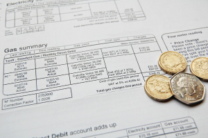 Energy bill with coins