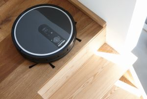 Miele Scout RX1 robot vacuum cleaner pictured at the top of stairs