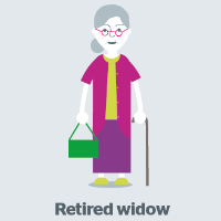 elderly widow graphic