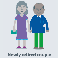 retired couple graphic