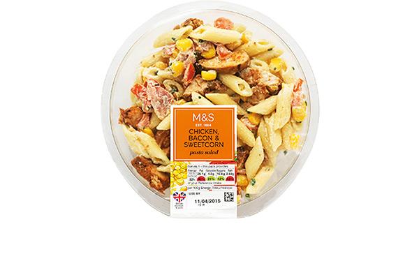 M&S Chicken, Bacon & Sweetcorn pasta salad