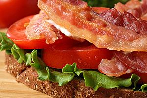 Tasty bacon sandwich