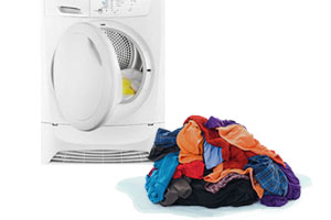 wet clothes from tumble dryer