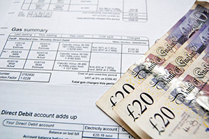 An energy bill and money