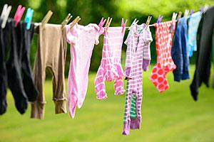 Washing hanging on line