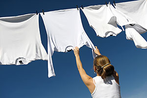 White laundry hanging on line