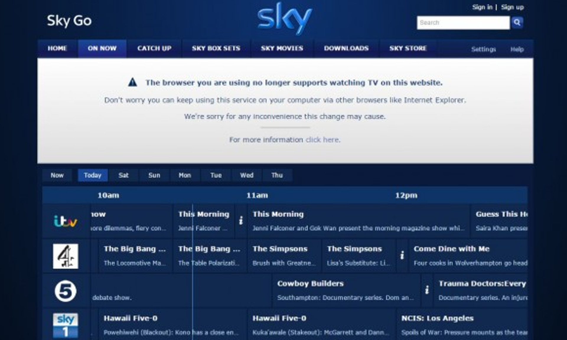 Why Sky Go is no longer working on Google Chrome, and what to do