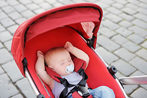 baby in pushchair