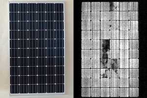solar panel under electroluminescence