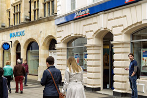 Nationwide and Barclays banks on the high street