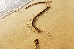 Question mark on the beach