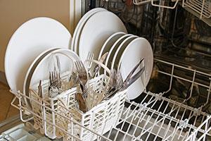 half filled dishwasher