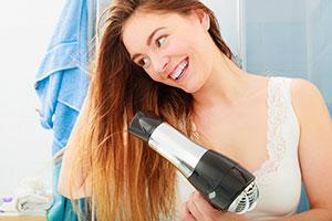Using hairdryer