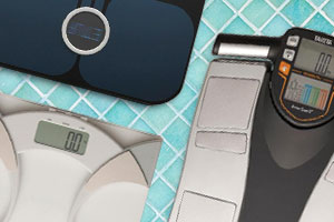 Three sets of bathroom scales