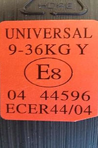 Car seat approval number sticker