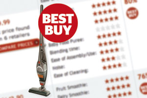 Shows a cordless vacuum cleaner along with the Best Buy logo and a view of our test results