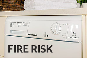 Hotpoint tumble dryer with the words fire risk in bold across the front
