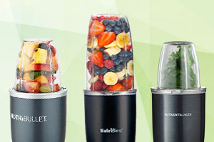 Image of the Nutribullet, Nutriblend and Nutrient blender side by side to show how similar they look.