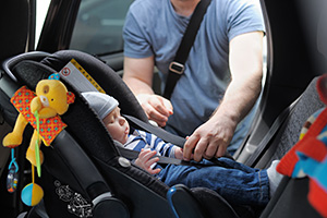 Rear facing car seat with baby in it