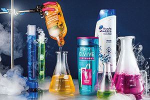 Shampoos in a laboratory