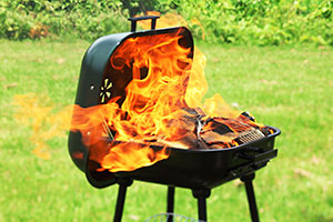 Barbecue on fire
