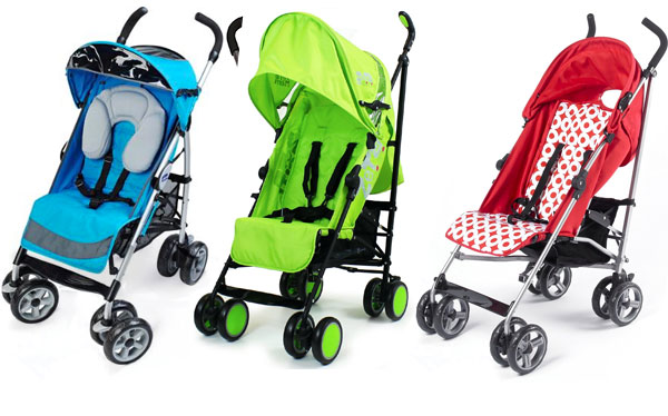 Colourful pushchairs