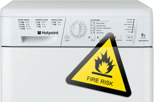Hotpoint tumble dryer with a fire risk sticker