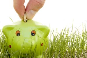Coin being put into a green piggy bank on grass