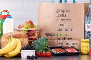 Fresh groceries and an Amazon Fresh bag