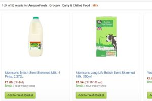 Screenshot of the Amazon Fresh website