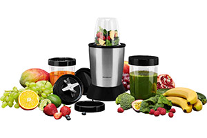 Lidl blender surrounded by fruit and veg