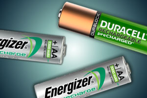 Duracell and Energizer rechargeable batteries