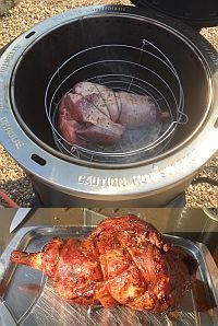 Cooking lamb on the Char-Broil Big Easy