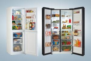Conventional fridge freezer and American fridge freezer.