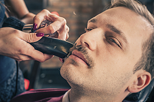 Moustache shaving with electric shaver